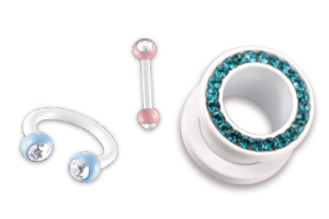 Swarovski Piercings, Flesh Tunnels, Fake Plugs, Bananabells, Ear Studs and Cheater Errings