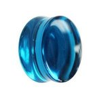 Glass Ear Plug - Blue - 8 mm