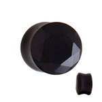 Glass Crystal Plug - Black - 8 mm