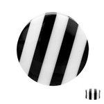 Ear Plug - Horn - Black - White - 10 mm