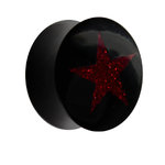 Horn Ear Plug - Star - Red - Glitter - 28 mm
