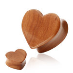 Wood Ear Plug - Heart - 10 mm