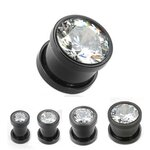 Crystal Ear Plug - Black - 12 mm