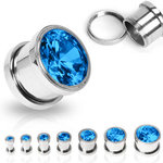 Crystal Ear Plug - Steel - Screw - Blue - 4 mm