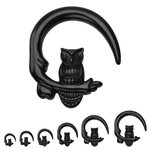 Spiral Taper - Acrylic - Black - Owl - 10 mm