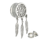 Flesh Tunnel - Silver - Dream Catcher - 12 mm