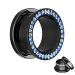 Flesh Tunnel - Black - Crystal - Blue - Expoxy Cover -...
