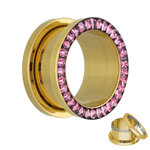 Flesh Tunnel - Gold - Crystal - Pink - Epoxy Cover - 10 mm