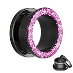 Flesh Tunnel - Steel - Black - Glitter - Pink - 6 mm