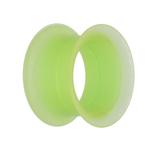 Flesh Tunnel - Silicone - Green - Thin Rim