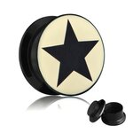 Picture Ear Plug - Screw - Star Black
