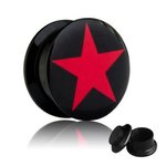 Picture Ear Plug - Screw - Star Red