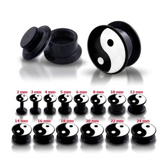 Picture Ear Plug - Screw - Ying & Yang