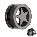 Star Flesh Tunnel - Steel - Black - 8 mm