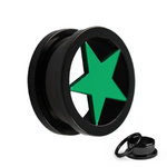 Flesh Tunnel - Steel - Black - Star - Green - 10 mm