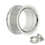 Double Flare Flesh Tunnel - Steel - Silver - Screw - 14 mm