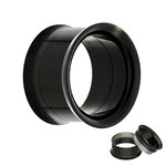 Double Flare Flesh Tunnel - Steel - Black - Screw - 4 mm
