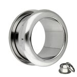 Flesh Tunnel - Steel - Silver - Rounded Edges - 8 mm