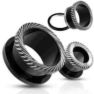 Flesh Tunnel - Steel - Black - Cuts - 16 mm