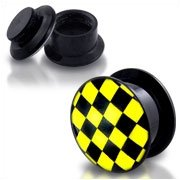 Picture Ear Plug - Screw - Chessboard - Check - Yellow