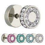 Piercing Fake Plug - Silver - Double Crystal - [3.] - pink