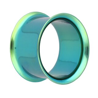 Double Flare Flesh Tunnel - Steel - Green