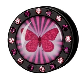 Crystal Picture Plug - Screw - Butterfly