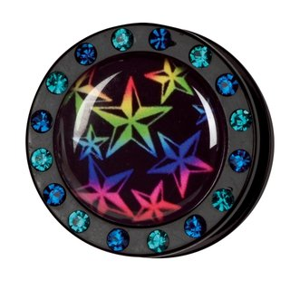 Crystal Picture Plug - Screw - Star Rainbow