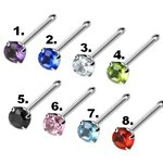 Nose Stud straight - Silver - Crystal - [03.] - clear