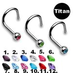 Titanium Nose Stud curved - Silver - Crystal - [04.] - clear