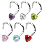 Nose Stud curved - Heart - Crystal - [03.] - green