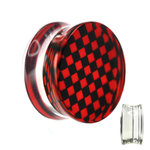 Silhouette Ear Plug - Chessboard - Check - Red