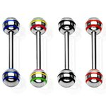 Barbell Piercing with Balls - Stripes - [03.] black