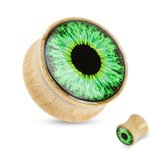 Wood Ear Plug - Maple - Eye - Green - 10 mm