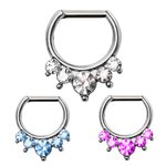 Septum Clicker - Silver - Crystals - Pointed - [02.] -...