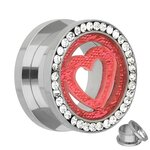 Flesh Tunnel - Steel - Silver - Crystals - Heart - 12 mm