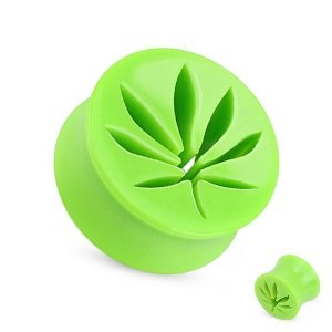 Ear Plug - Acrylic - Hemp Leaf - Green