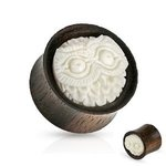 Wood Ear Plug - Owl - White - 10 mm
