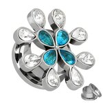 Flesh Tunnel - Steel - Crystal - Flower - Light Blue - 12 mm