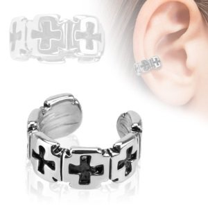 Ear Cuff - Silver - Crosses