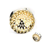 Ear Plug - Steel - Mandala - Small - Gold - 8 mm