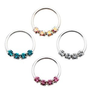 Septum Piercing - Sterling Silver - Crystals