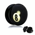 Picture Ear Plug - Screw - 8 Ball