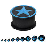Silicone Ear Plug - Black - Star Blue