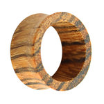 Wood Flesh Tunnel - Brown - Zebrano Wood - 12 mm
