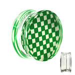 Silhouette Ear Plug - Chessboard - Check - Green