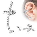 Ear Stud - Ear Cuff - Cross - Clear