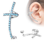 Ear Stud - Ear Cuff - Cross - Blue