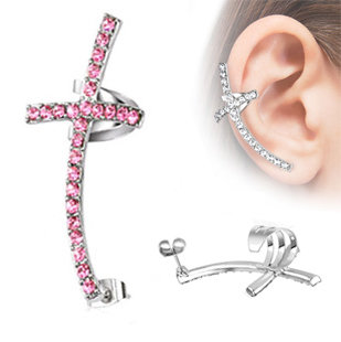 Ear Stud - Ear Cuff - Cross - Pink