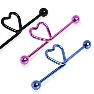 Barbell Piercing - Industrial - Heart - 3 Colors